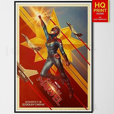 Captain Marvel Movie Dolby Cinema Poster Brie Larson Marvel Comics | A4 A3 A2 A1