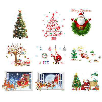 Removable Waterproof Christmas Tree Santa Stickers for Holiday Room Decor