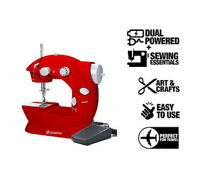 Smartek RX-08 Mini Sewing Machine with Pedal, Small Lightweight Red