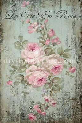 Furniture Decal Image Transfer Vintage Painted Rose Art Upcycle Shabby Chic Diy