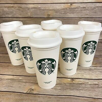6x Starbucks Reusable Cups Tumbler Plastic Grande Recyclable 16oz Lot Of 6