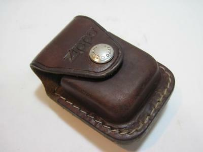 Brown Leather Zippo Lighter Pouch Case With Belt Clip Made In USA