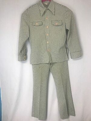 VTG Mens Talon 70s Polyester Leisure Suit Green With Houndstooth Disco Boogie