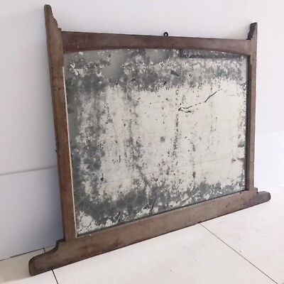 Large Antique  Mantle Edwardian 20's Foxed Glass Mirror Wooden French Vintage