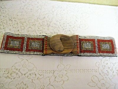 """VINTAGE 60s/70s Beaded Hippie Belt~Elastic with Wood Buckle~Fits 30 to 40"""" Waist"""