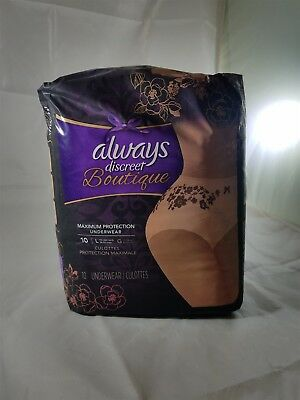 Always Discreet Boutique Maximum Protection Underwear 10 pk NIP