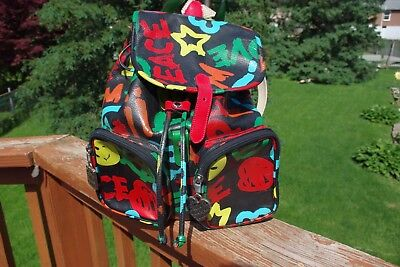 Vintage 1990's Moschino Peace Love Smiley Colorful Large Leather Backpack RARE