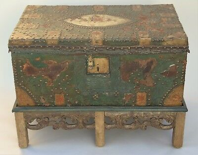 17th Century Hand Painted Leather Chest on Stand