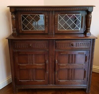 Priory Oak Vintage Court Cabinet Buffet Sideboard Dresser Base Hall Table Drawer