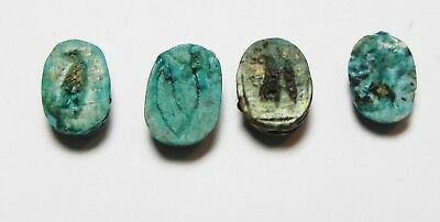 ZURQIEH -as10316- ANCIENT EGYPT.  GLAZED STONE SCARABS. 1300 B.C (4PCS)