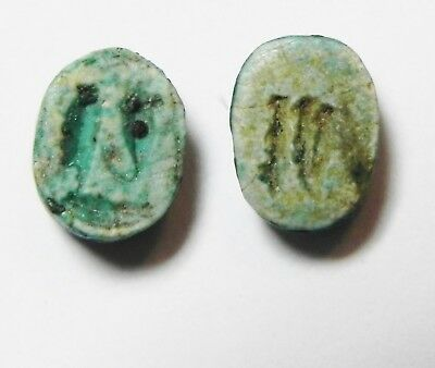 ZURQIEH -as10318- ANCIENT EGYPT.  GLAZED STONE SCARABS. 1300 B.C (2 PCS)