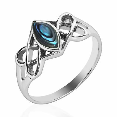 Celtic Trinity Knot Marquise Abalone Shell Sterling Silver Ring-8