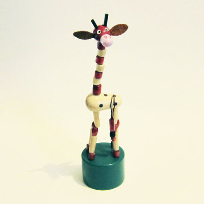 """LAST ONE! Classic Wooden Toy Push Puppet GIRAFFE w/Green Base TALL Brown 6-1/2"""""""