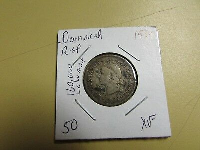 1939 Dominican Republic 25 Centavos 90% Silver 160,000 Minted KEY!!!!