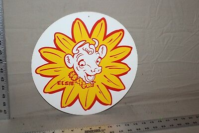 RARE ELSIE 1950s BORDEN'S 2-SIDED FAN PULL SIGN DAIRY FARM COW ICE CREAM FEED