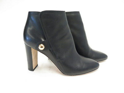 a757b9fd8e05 Jimmy Choo Medal 85 Ankle Boot Black Leather Size 35 Block-Heel Bootie