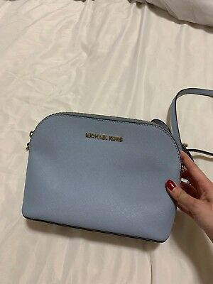 d91e6fd32daa Michael Kors Cindy Large Dome Saffiano Leather Crossbody Bag Pale Blue