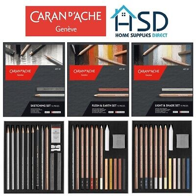 Caran D'ache Artist Sketching Shading Colouring Drawing Pencil Sets Gift Box
