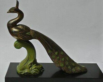 Vintage French Art Deco Statue Metal Peacock On Marble Hand Painted