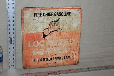 1960's TEXACO FIRE CHIEF METAL SIGN GASOLINE LOCALIZED FOR YOU TEXAS GAS OIL 66