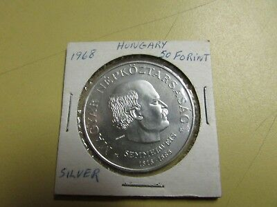 1968 Hungary 50 Forint .64 Silver Only 20,250 Made UNC