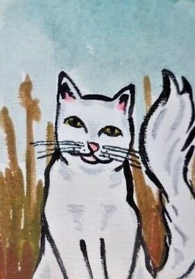 White Cat ACEO original acrylic painting animal art atc landscape card 2.5 x 3.5