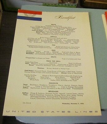 November 7 1956 SS United States Cruise Ship Breakfast Menu Travel Souvenir