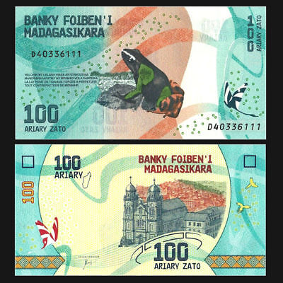 NICE Madagascar 100 Ariary  NEW Design UNC Africa Banknote