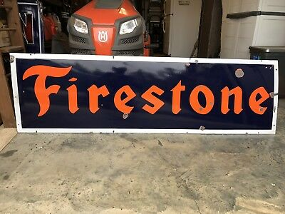 Vintage porcelain sign FIRESTONE tires gas oil enamel