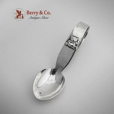 Teddy Bear Hand Made Curved Handle Baby Spoon Sterling Silver 1940