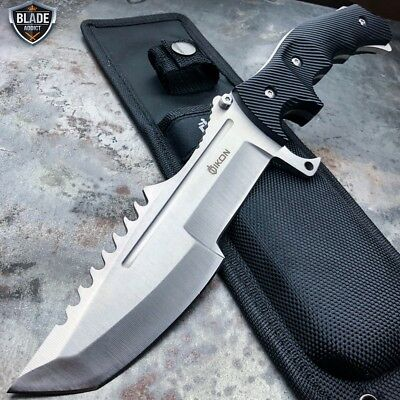 "11"" CSGO Tactical Hunting Tracker FIXED Blade Survival Bowie Combat Knife SILVER"