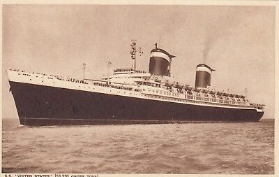 "United States Lines Postcard. SS ""United States"" Liner. Blue Riband. c 1952"