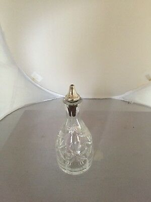 """Lovely Cut Glass And Sterling Silver Topped Vinigar/oil Jar 6"""" Tall"""