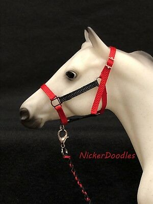 Breyer Traditional size-Stock Halter & Lead Rope-Black/Red
