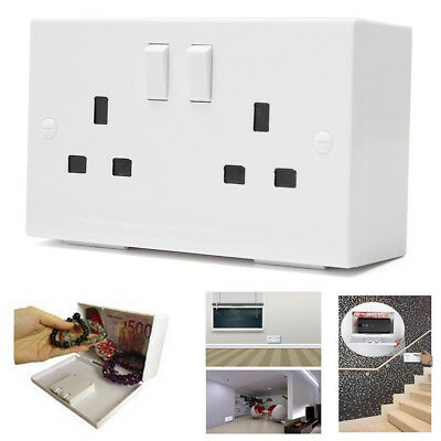 Imitation Double UK EU Plug Socket Wall Safe Security Secret Hidden Stash Box
