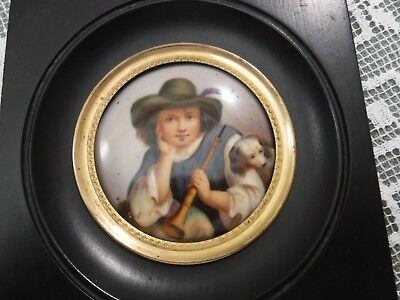 Antique Hand Painted Victorian Portrait Plaque Boy with Dog & Horn Framed