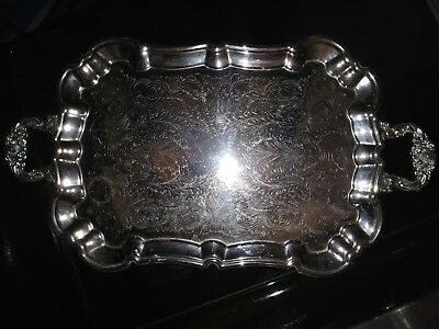 Vtg Large Footed WEDDING SALVER Tray SILVER Plated PEWTER Handles & Feet