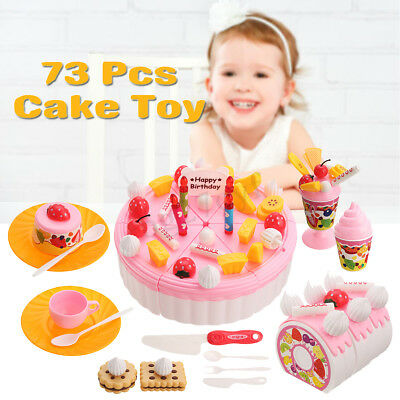 73pcs Kids DIY Cake Fruit Cutting Party Pretend Play Toy Set Role Play Food Toys