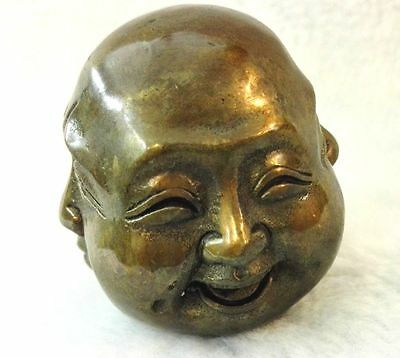 Antiques Old tibet brass 4 faces buddha head statue Figures 6cm