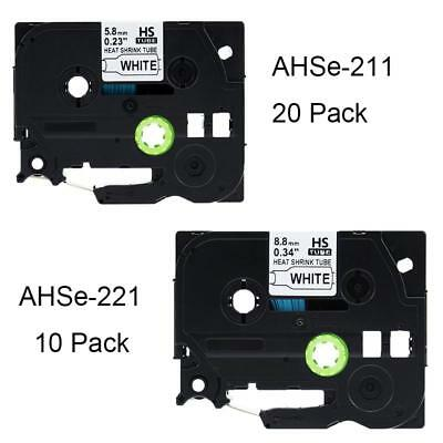 30PK Compatible for Brother Heat Shrink Tubes HSe-221 HSe-211 PT-E300 Label Tape