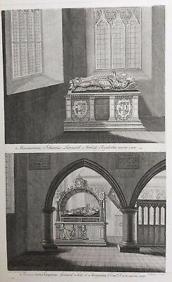 1780 Antique Large Print: Lennard Tombs, St Botolphs Church, Chevening, Kent