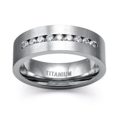 8MM Fashion 316L Stainless Steel Titanium Wedding Engagement Band Ring Size 6-13