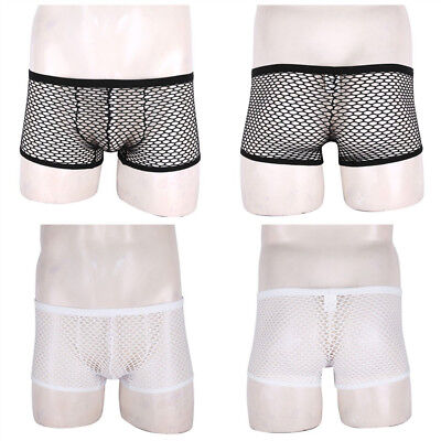 Mens Sheer Mesh Boxer Briefs Breathable Panties Shorts Nightclub Underwear