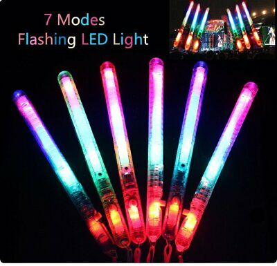 5-50x LED Flashing Glow Stick Rainbow Light Up Blinking Wands Party Concert Prom