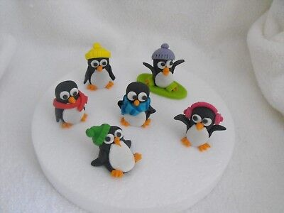 Cake Toppers Edible Penguins Set of 6