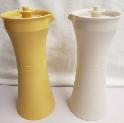 Vintage Tupperware Condiment Bottles Harvest Gold Oil & Vinegar Containers 1970s