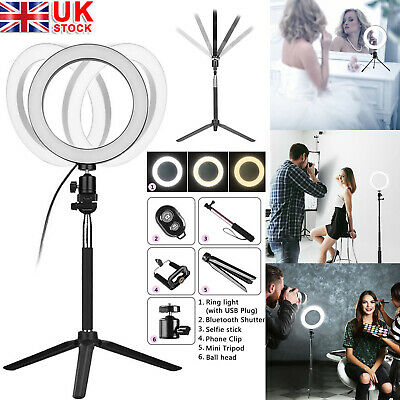 5-in-1 Kit LED Dimmable Ring Light Studio Photo Video Lamp+Tripod+Selfie Stick