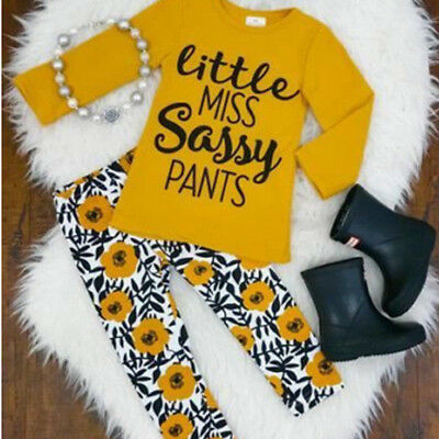 UK Toddler Kids Baby Girls Outfits Clothes T-shirt Tops+Pants Trousers 2PCS Sets