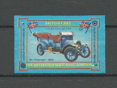Britannia Match Co, London British Cars matchbox label (#24 1908 Bentall)