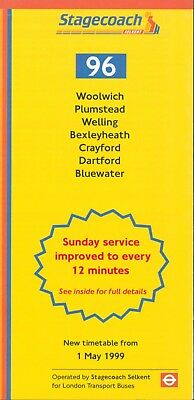 BUS TIMETABLE LEAFLET Stagecoach Selkent (London Transport Buses) route 96  5/99
